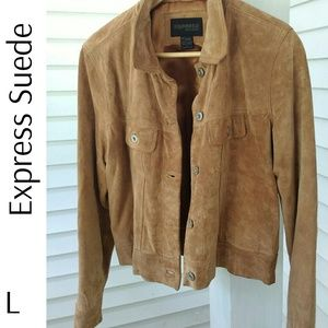 Express Suede Lined Jacket Brown Tan Carmel
